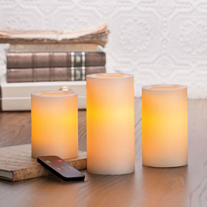 4-5-6 Inch Variety Pack Flameless Remote Control Pillar Candles with Timer - Cream with Vanilla Scent