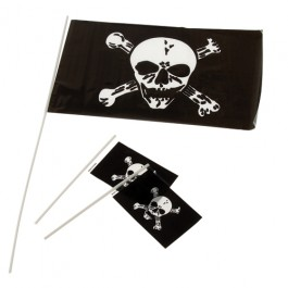 Plastic Pirate Flags - 4x6 Inch
