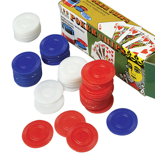 1.5 Inch Plastic Poker Chips - 100 Count