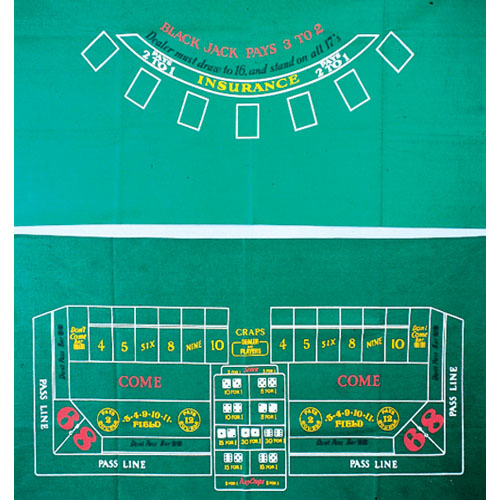 Craps Table Top Cloth - 36x72 Inch