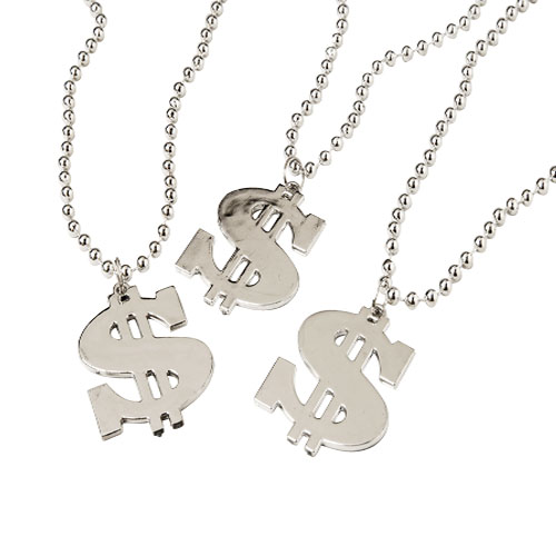 32 Inch Dollar Sign Necklaces - 12ct