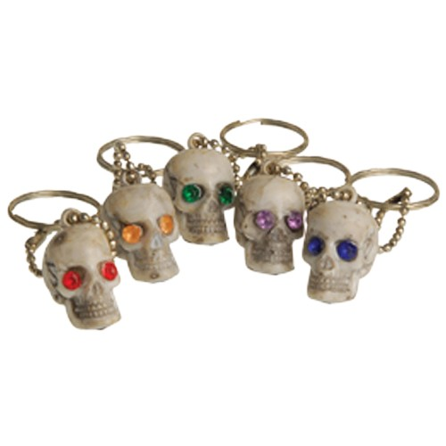 Jeweled Eyes Skull Keychains