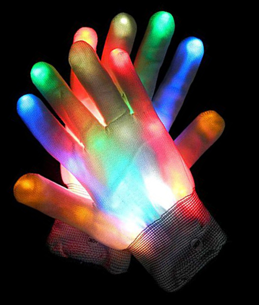 Led Light Chaser Necklace Multicolor Valentine Rainbow Gloves