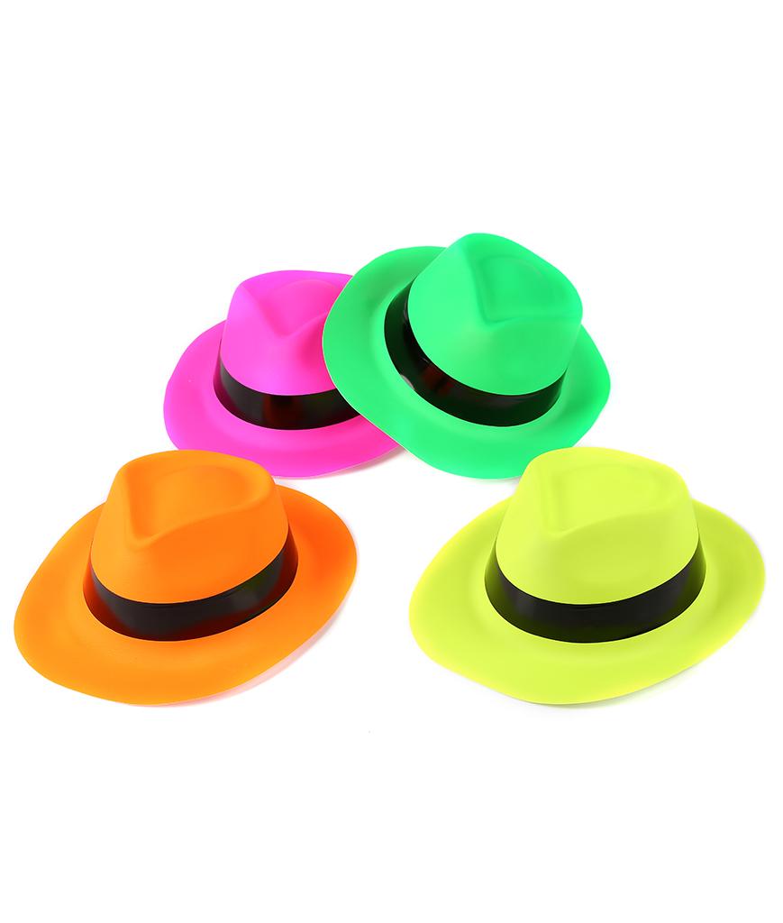 efe61aa1680 Neon Color Plastic Gangster Hats 12 Pack - Coolglow.com