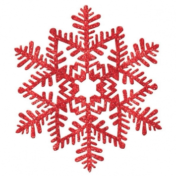 Large Glitter Plastic Snowflake Decoration- red