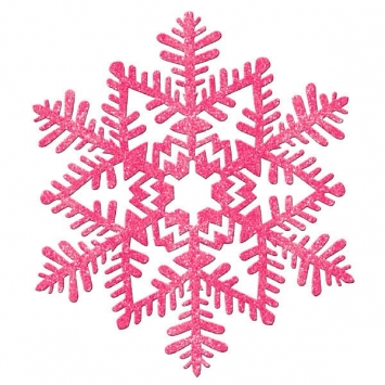 Small Glitter Plastic Snowflake Decoration- Pink