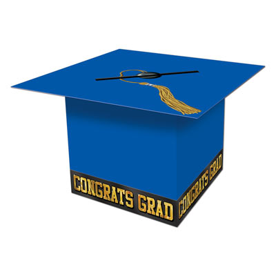 Grad Cap Card Box 8 x 8 - Blue