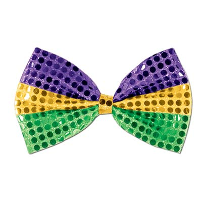 Glitz 'N Gleam Bow Tie 4 x 7 - Gold Green Purple