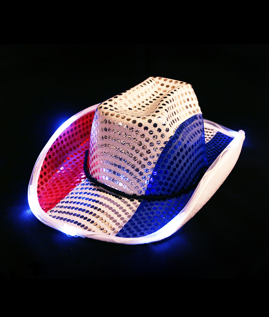Fun Central BC683 LED Light Up Cowboy Hat - Red White Blue