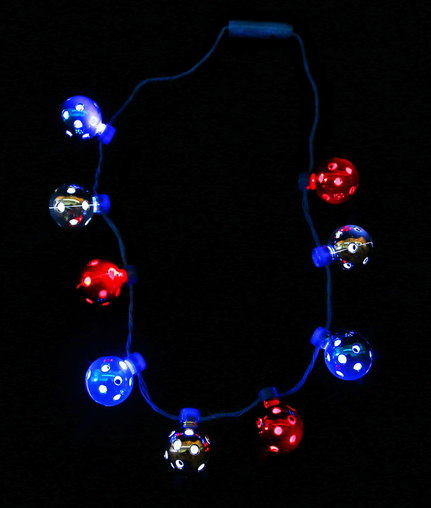 Fun Central BC685 LED Light Up Disco Ball Necklace - Red-White-Blue