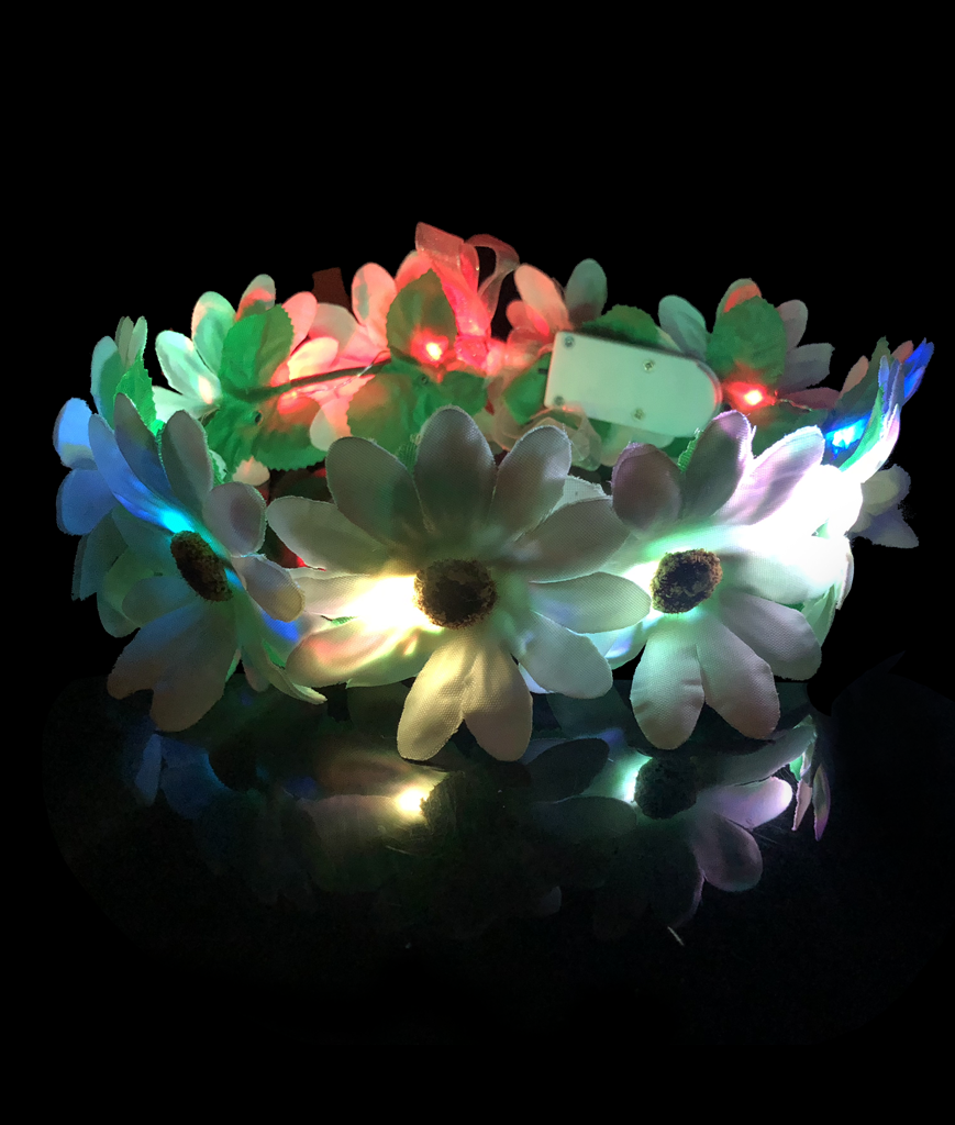 Fun Central BC876 LED Light Up Light-up Flower Halo - Multicolor