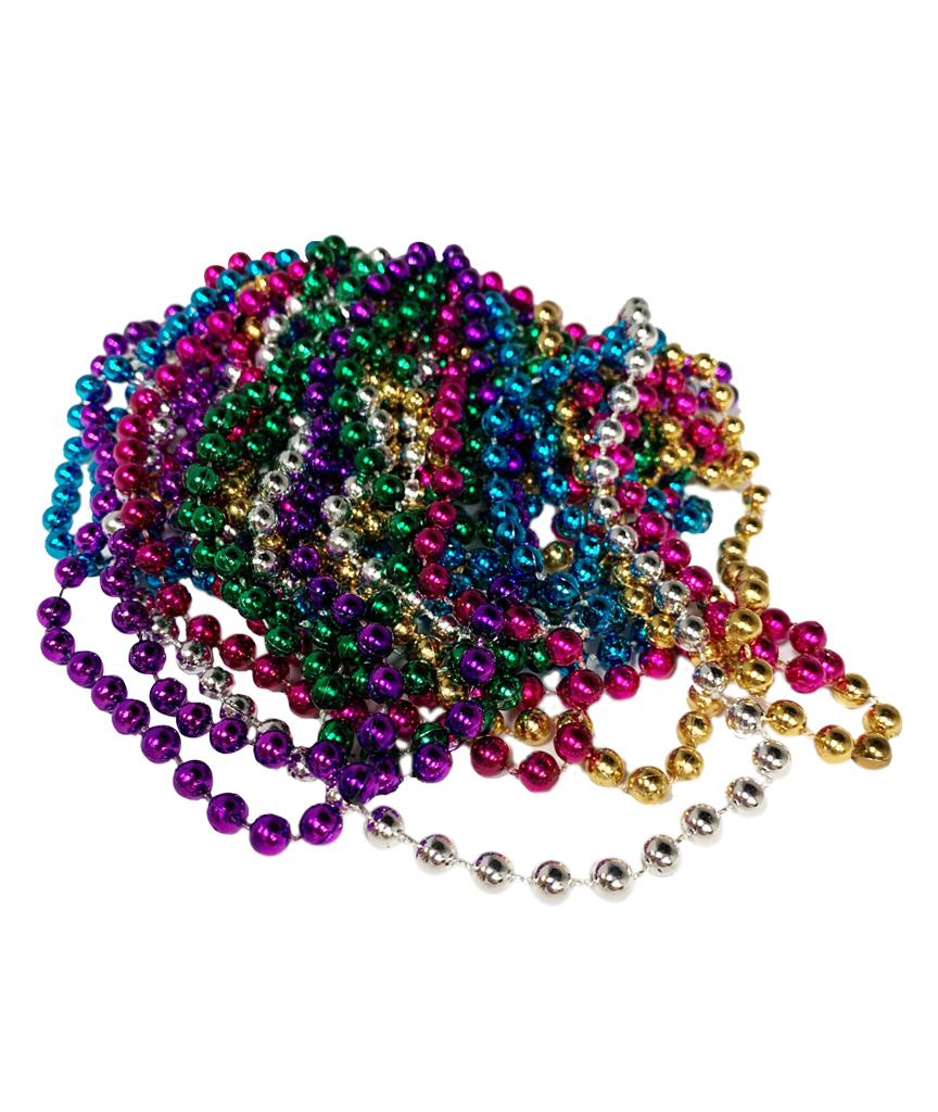 33 Inch 7mm Metallic Bead Necklaces - Assort 12ct