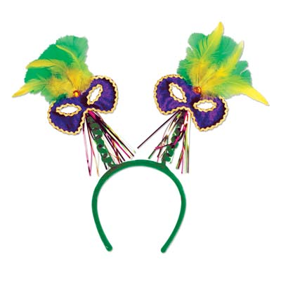Mardi Gras Mask wFeathers Boppers