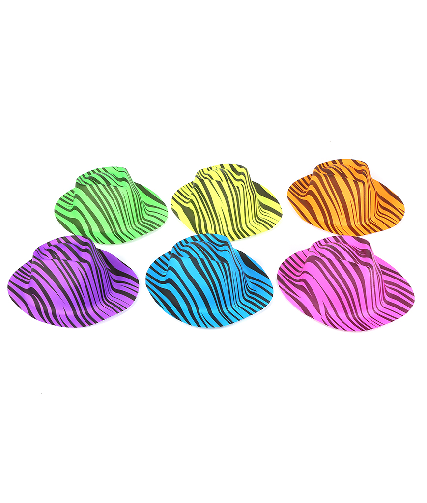 Neon Animal Print Gangster Hats Assorted - 12ct