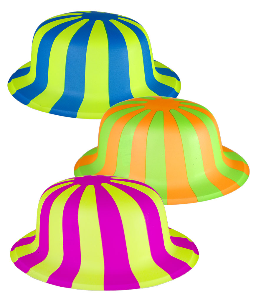 Striped Neon Derby Hats - Assorted 12ct