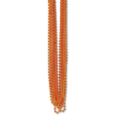 33 Inch 7mm Metallic Bead Necklaces - Orange 12ct