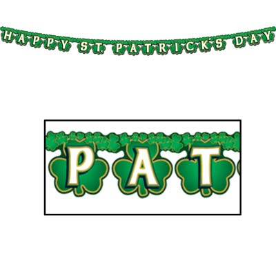 Shamrock Happy St Patrick's Day Streamer 4 x 6' 9