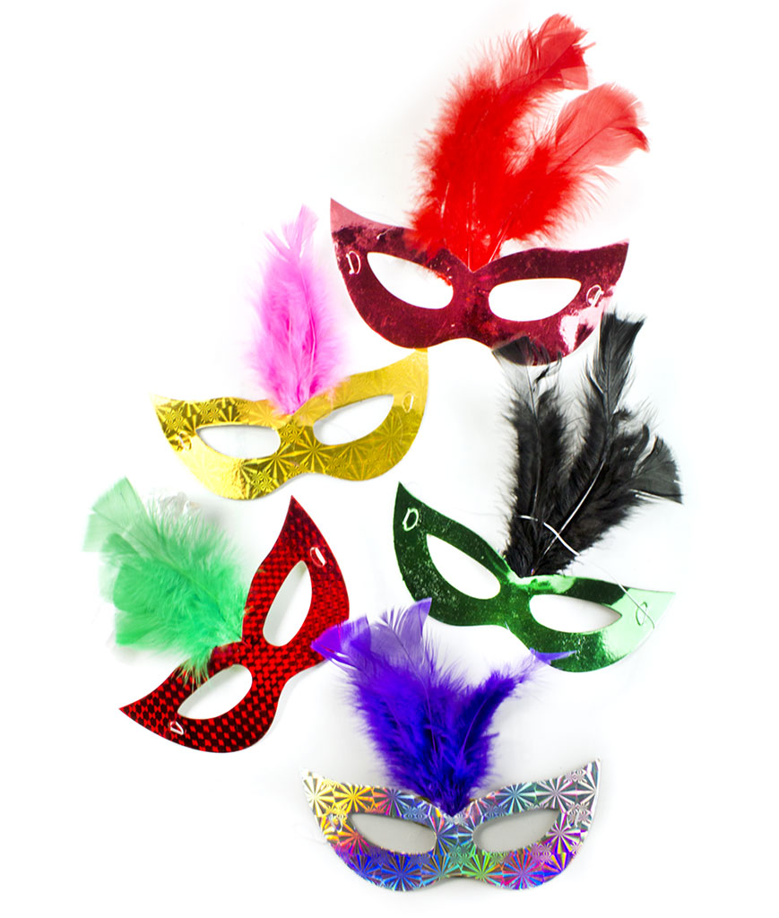 Prismatic Feather Masks Assorted 6ct