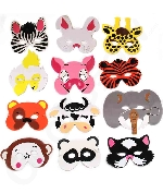 Kids Foam Zoo Animal Face Masks - 12ct Assorted