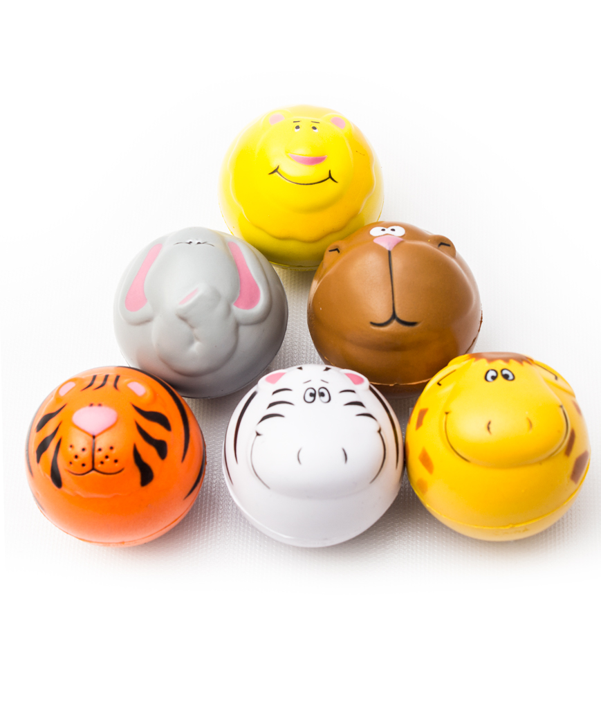 Zoo Animal Squeeze Stress Ball - Assorted 12ct