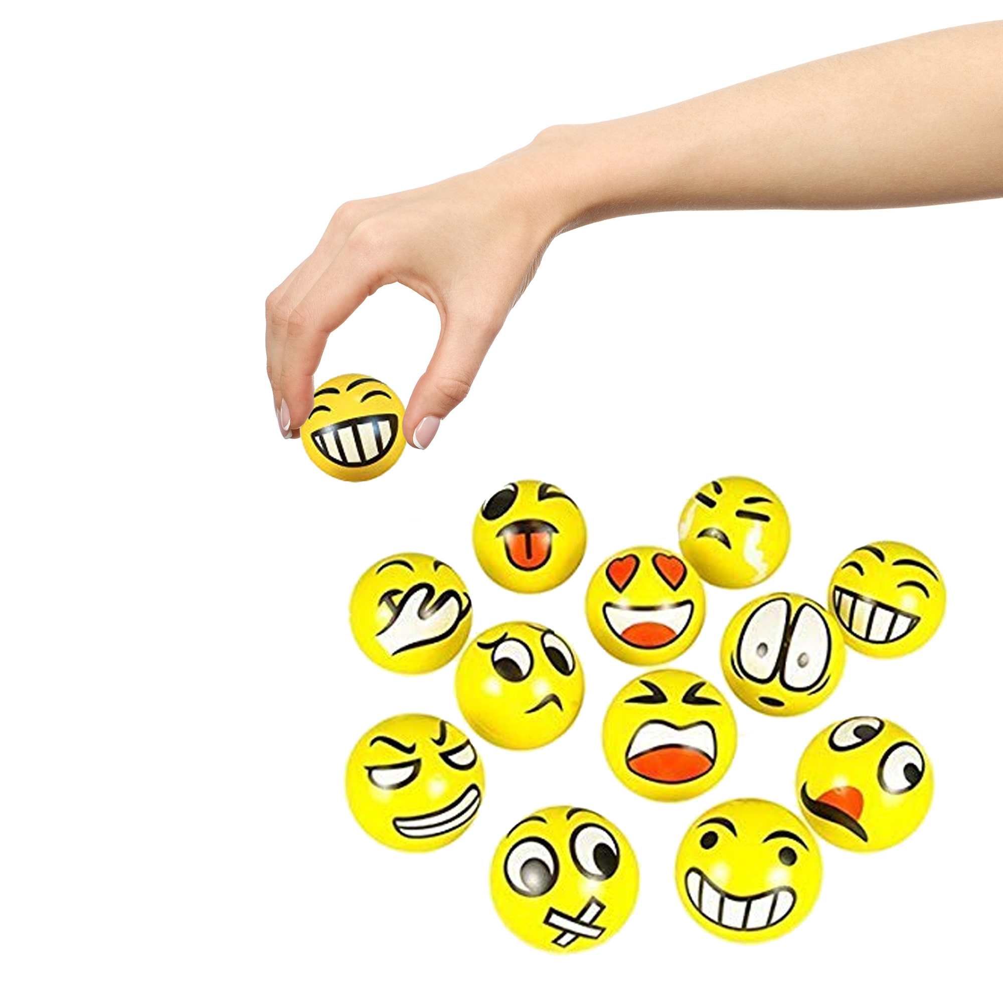 3 Inch Emoji Stress Balls Assorted - 12ct
