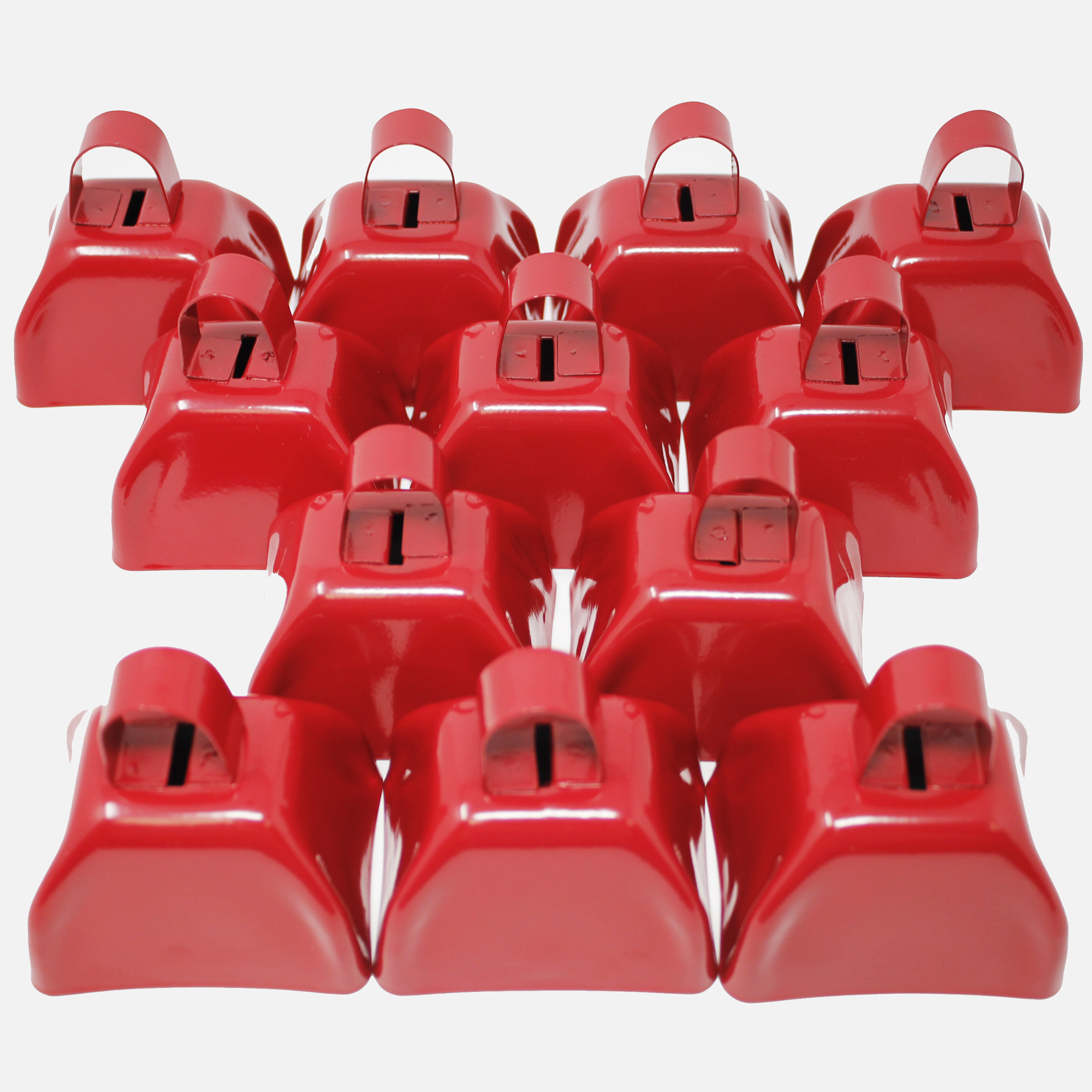 3 Inch Red Metal Cowbell - 12ct