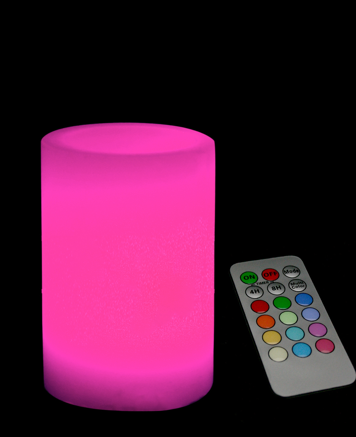 5 Inch Flameless Remote Control Pillar Candle - Smooth Edge - Multicolor