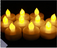1.75 Inch Flameless Tealight Candles with Timer - Yellow - 12 Pack