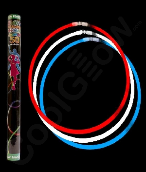 8 Inch Glow Bracelets - Assorted Red-White-Blue