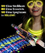 Fun Central AM737 Glow in the Dark Party Pack for 50 - Yellow