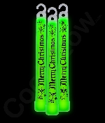 6 Inch Premium Merry Christmas Glow Sticks-Green
