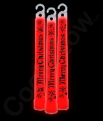 6 Inch Premium Merry Christmas Glow Sticks- Red