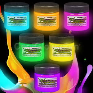 Glominex Glow Paint 1 oz Jars - Assorted 6ct
