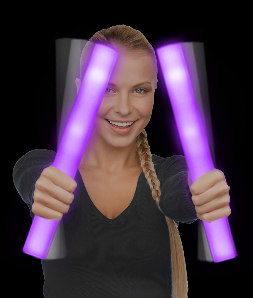 LED Foam Stick Baton Supreme - Purple - 6 Pack