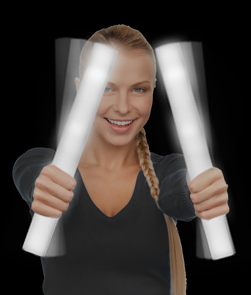 LED Foam Stick Baton Supreme - White - 12 Pack