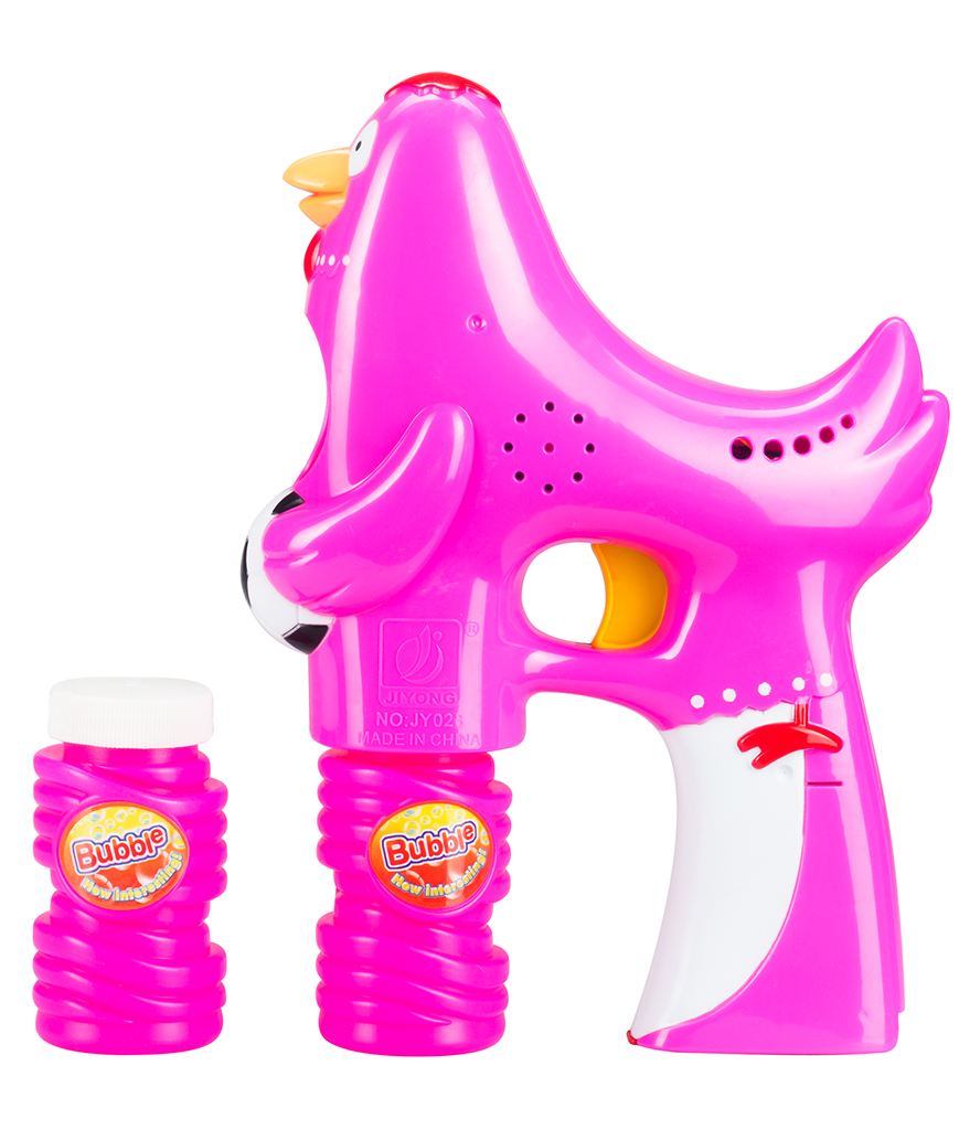 LED 5 Inch Bubble Gun - Rooster - Pink