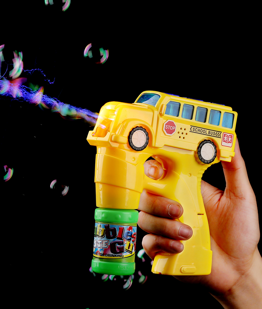 LED 5.5 Inch Bubble Gun - School Bus