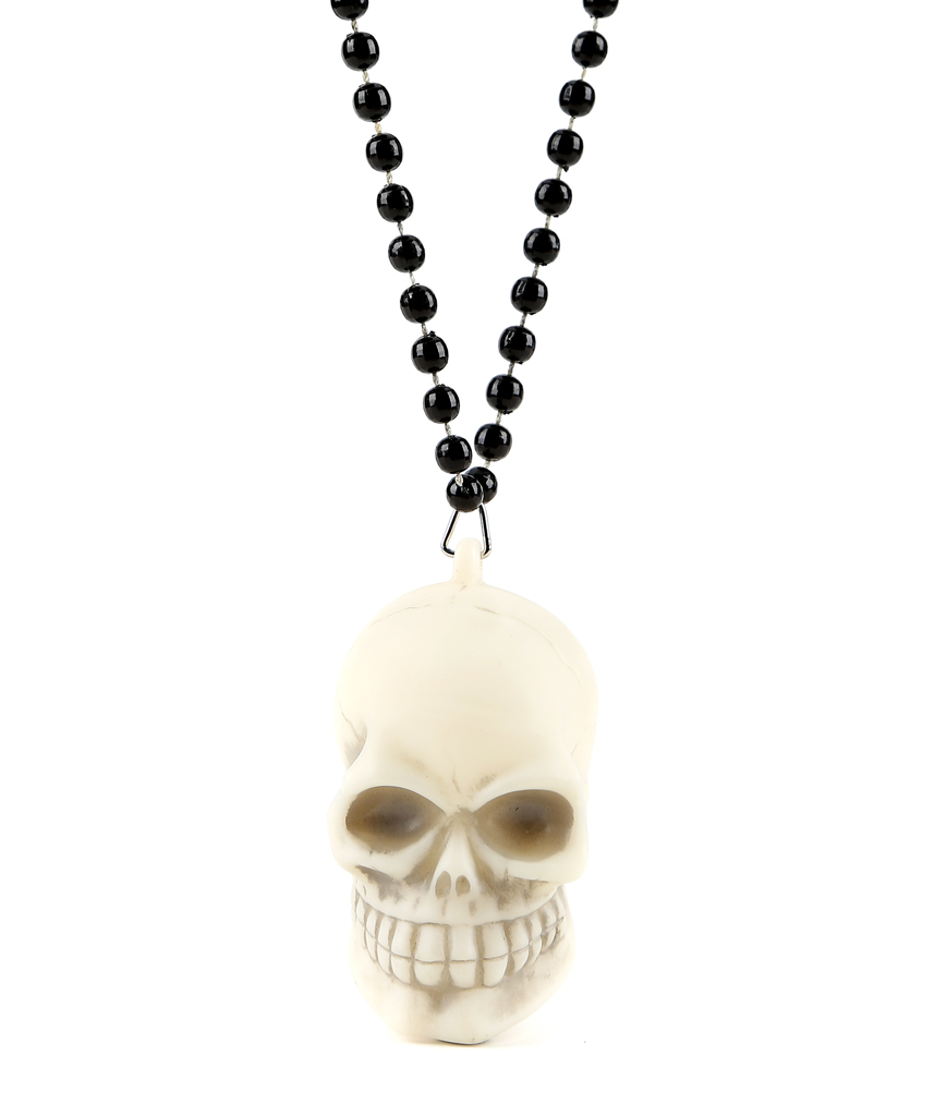 LED Skull Necklace with Black Beads - Multicolor