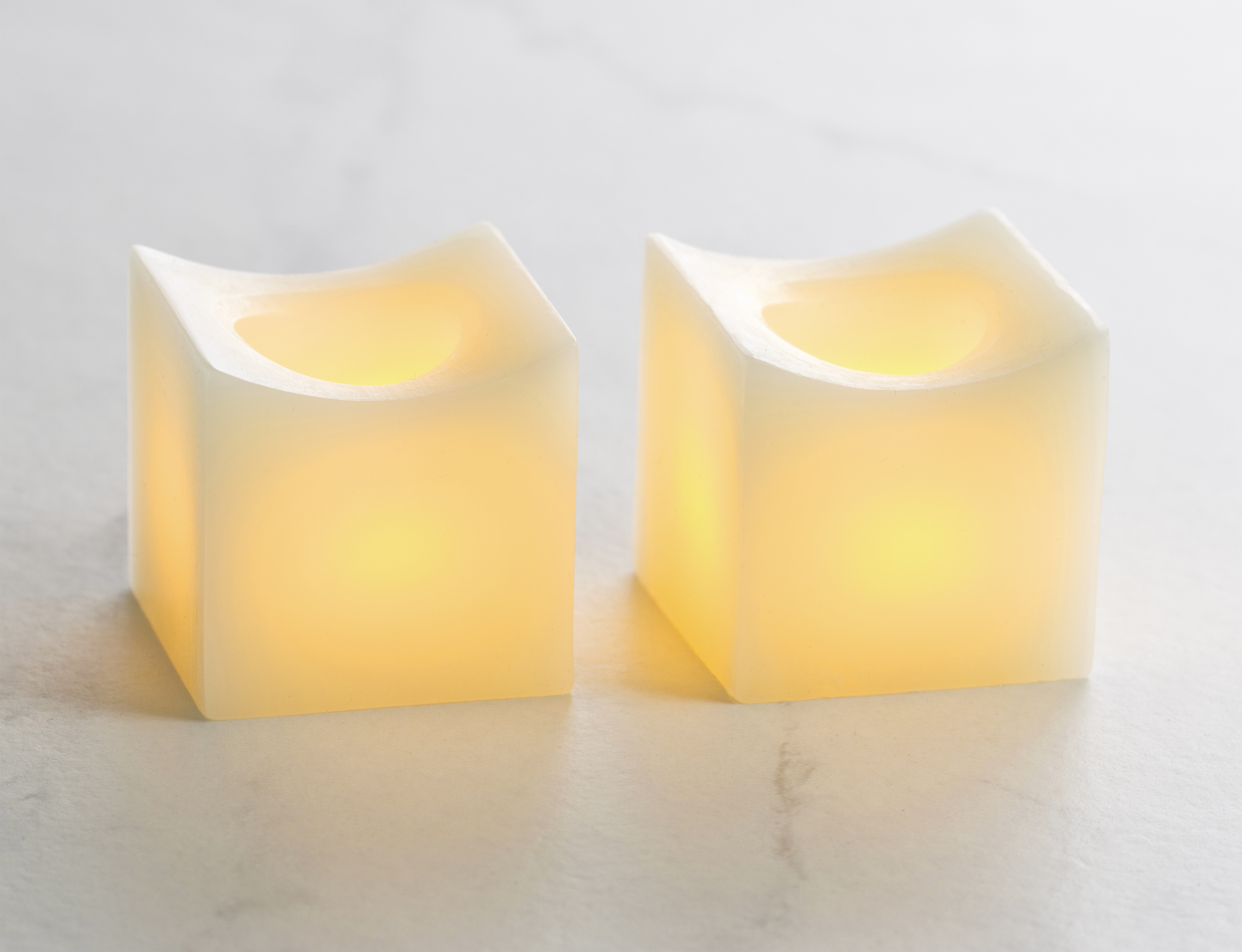2 Inch Flameless Mini Curved Square Candles - Cream - 2 Pack