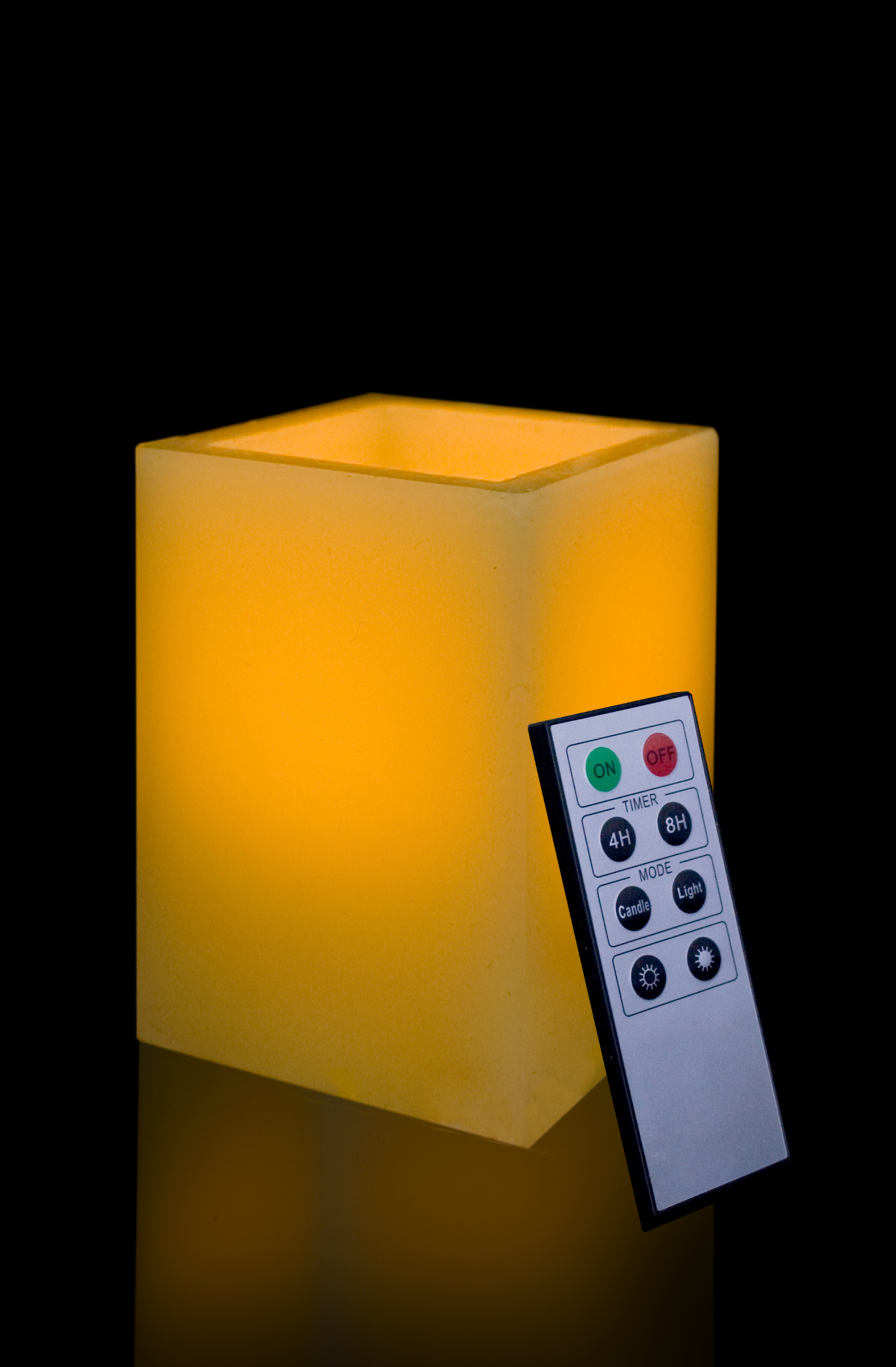 5 Inch Flameless Remote Control Square Pillar Candle - Yellow