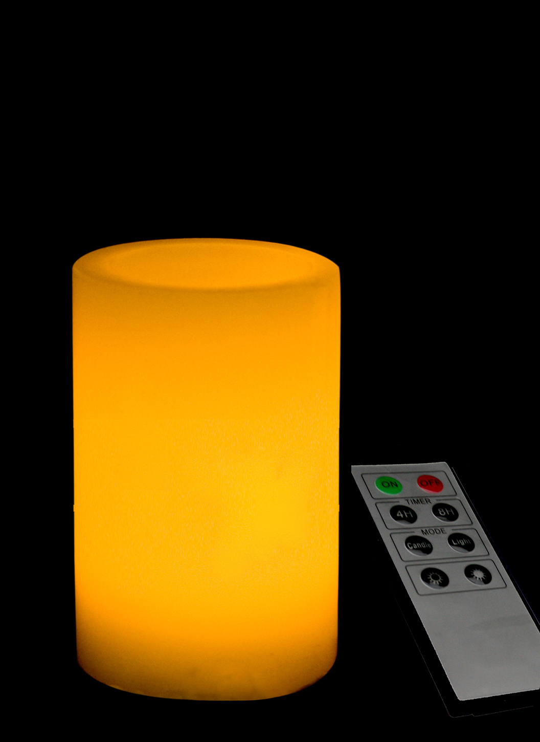 5 Inch Flameless Remote Control Pillar Candle - Smooth Edge - Yellow