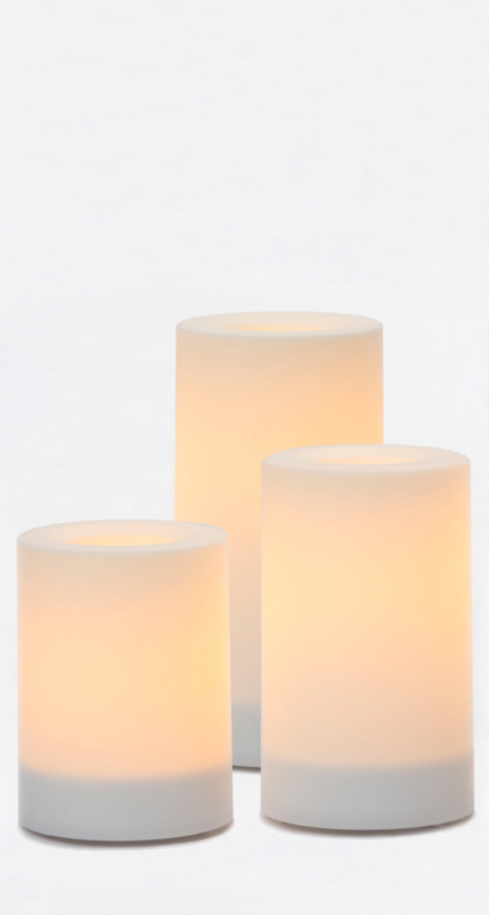 4-5-6 Inch Variety Pack Flameless Outdoor Pillar Candles with Timer - White