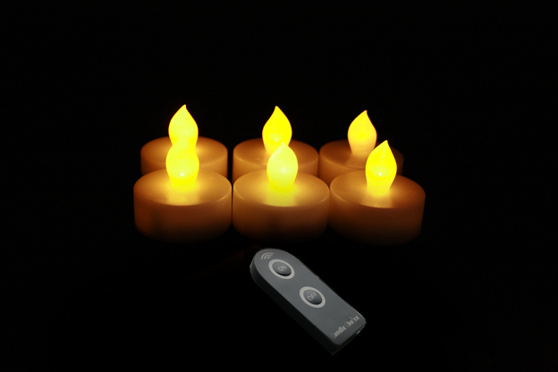 1.75 Inch Flameless Tealight Candles with Timer - Yellow - 6 Pack