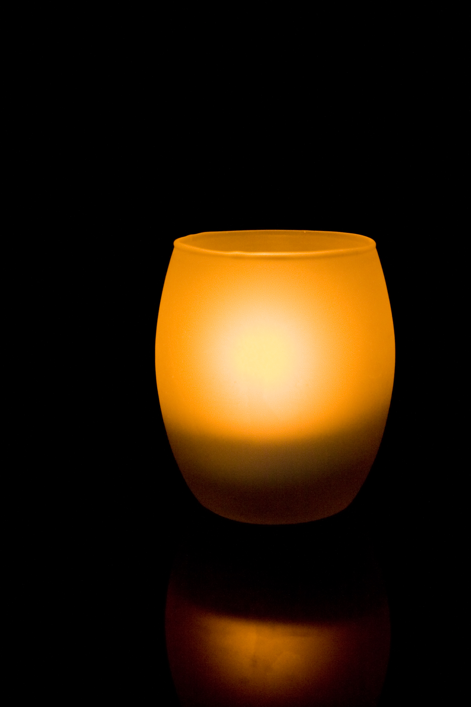 4 Inch Flameless Blow On-Off Hurricane Candle with Frosted Glass Holder - Yellow