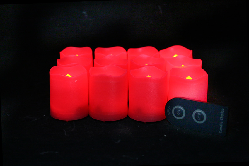 2 Inch Flameless Remote Control Votive Candles - Red - 12 Pack