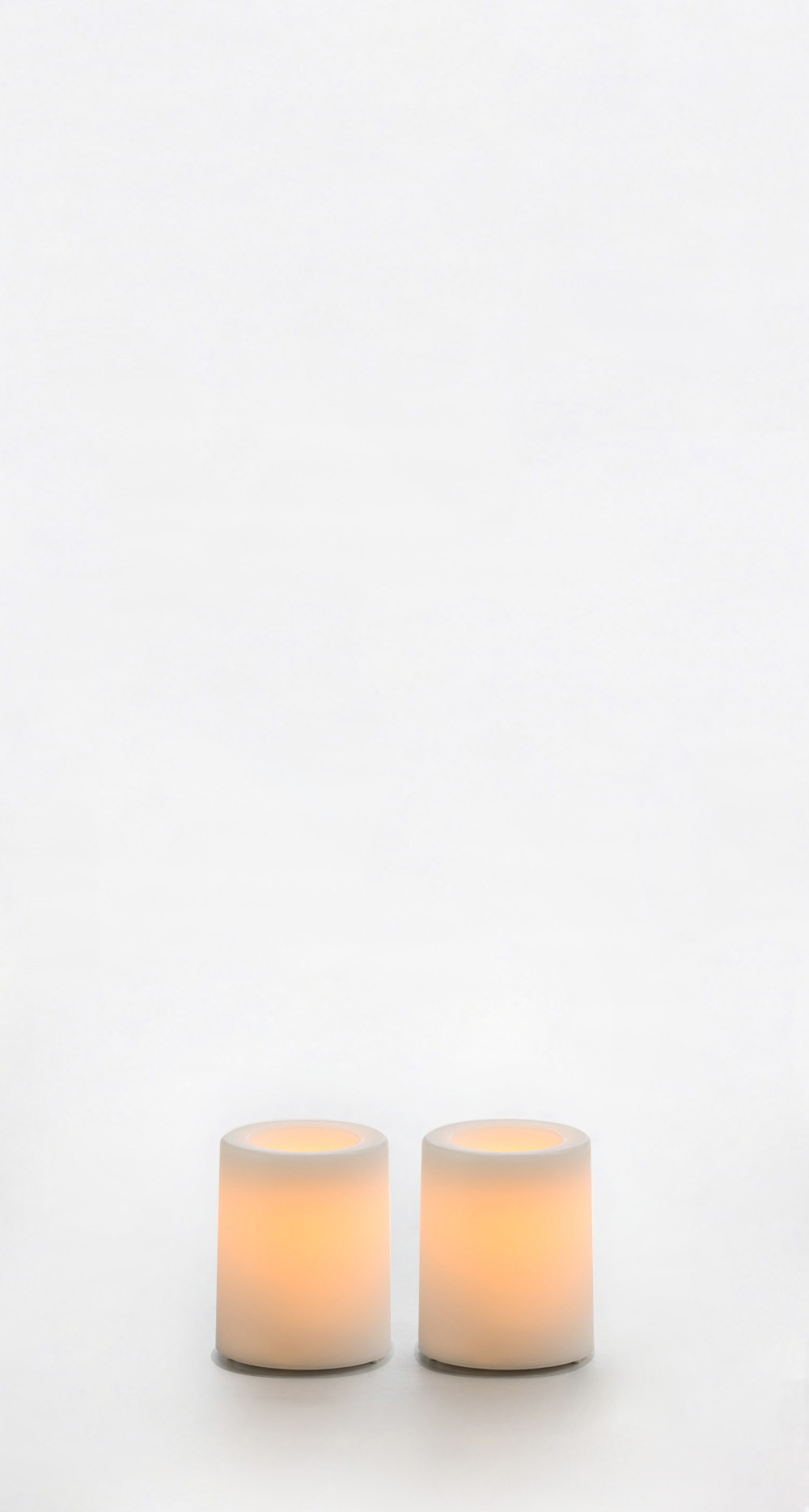 1.75 Inch Flameless Wax Finish Votive Candles - White Unscented - 2 Pack