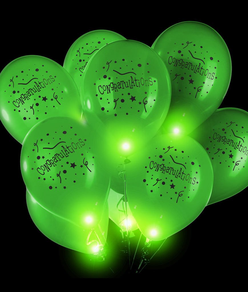 LED 14 Inch Blinky Balloons Congratulations - Green