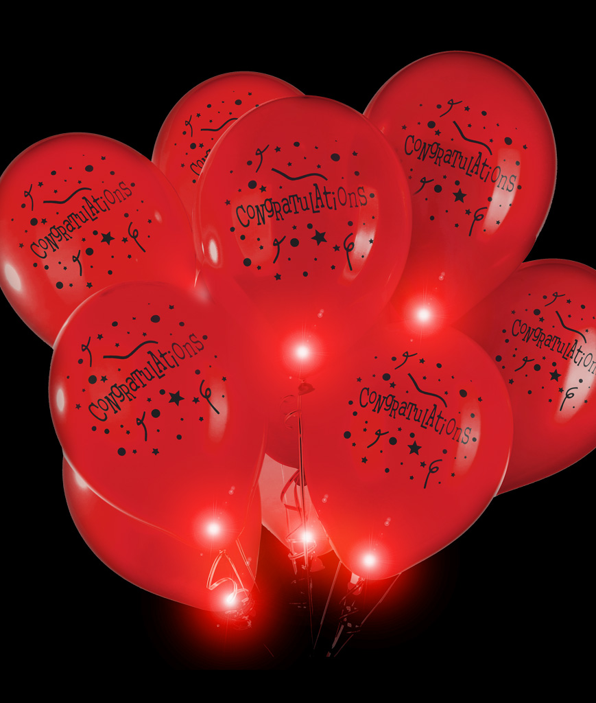 LED 14 Inch Blinky Balloons Congratulations - Red