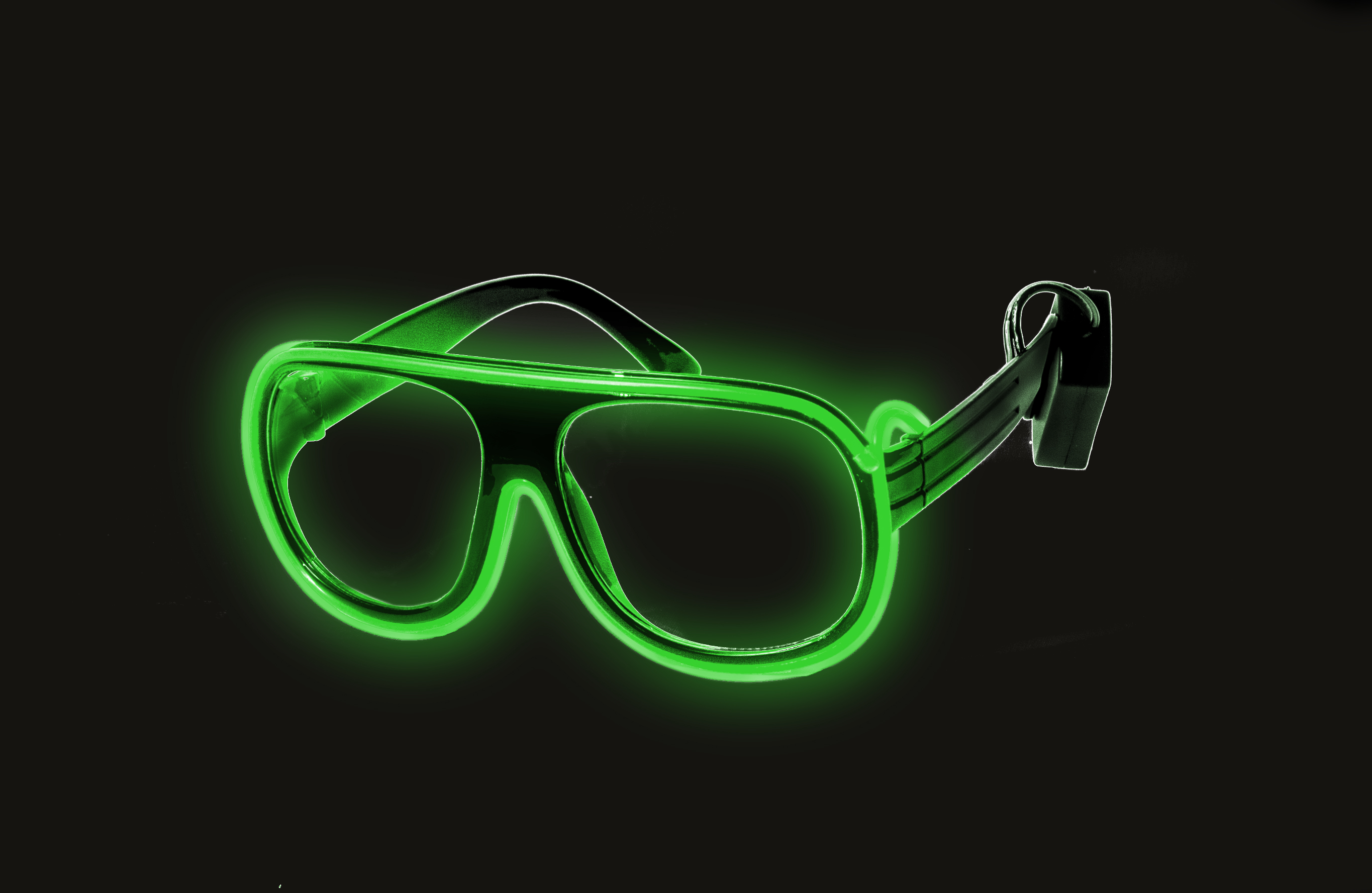 EL Aviator Glasses Black Frame - Green