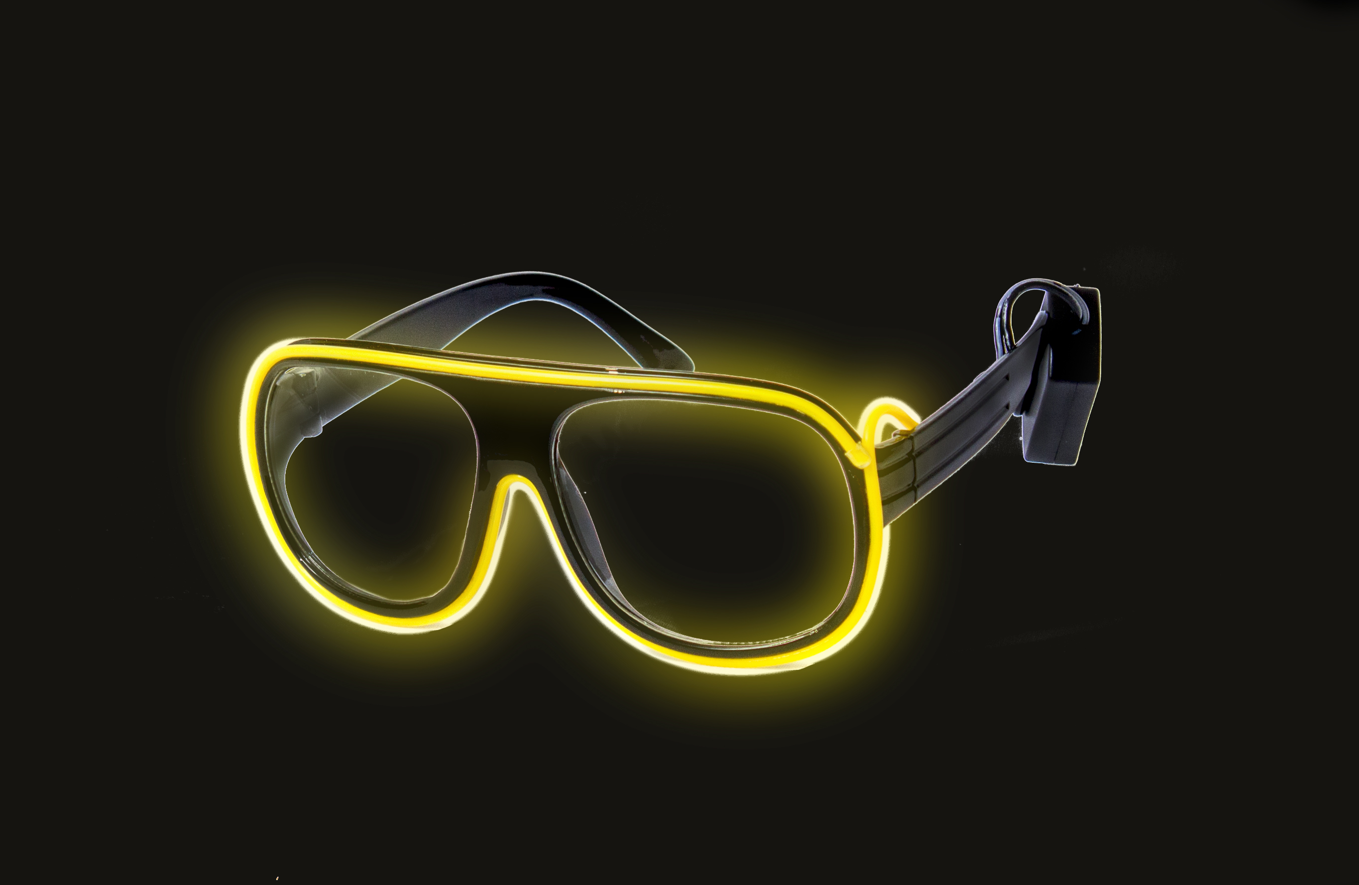 EL Aviator Glasses Black Frame - Yellow